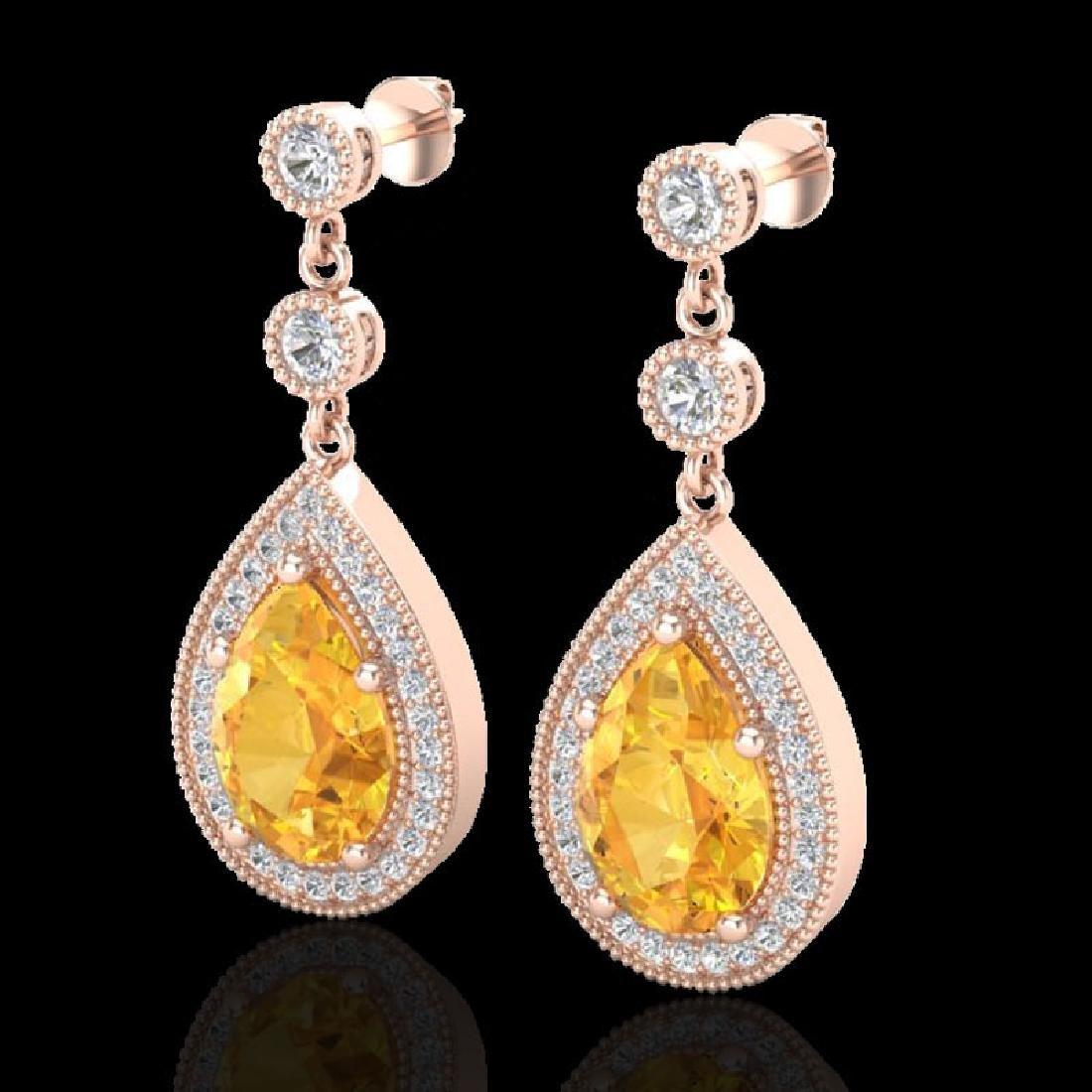 4.50 CTW Citrine & Micro VS/SI Diamond Earrings