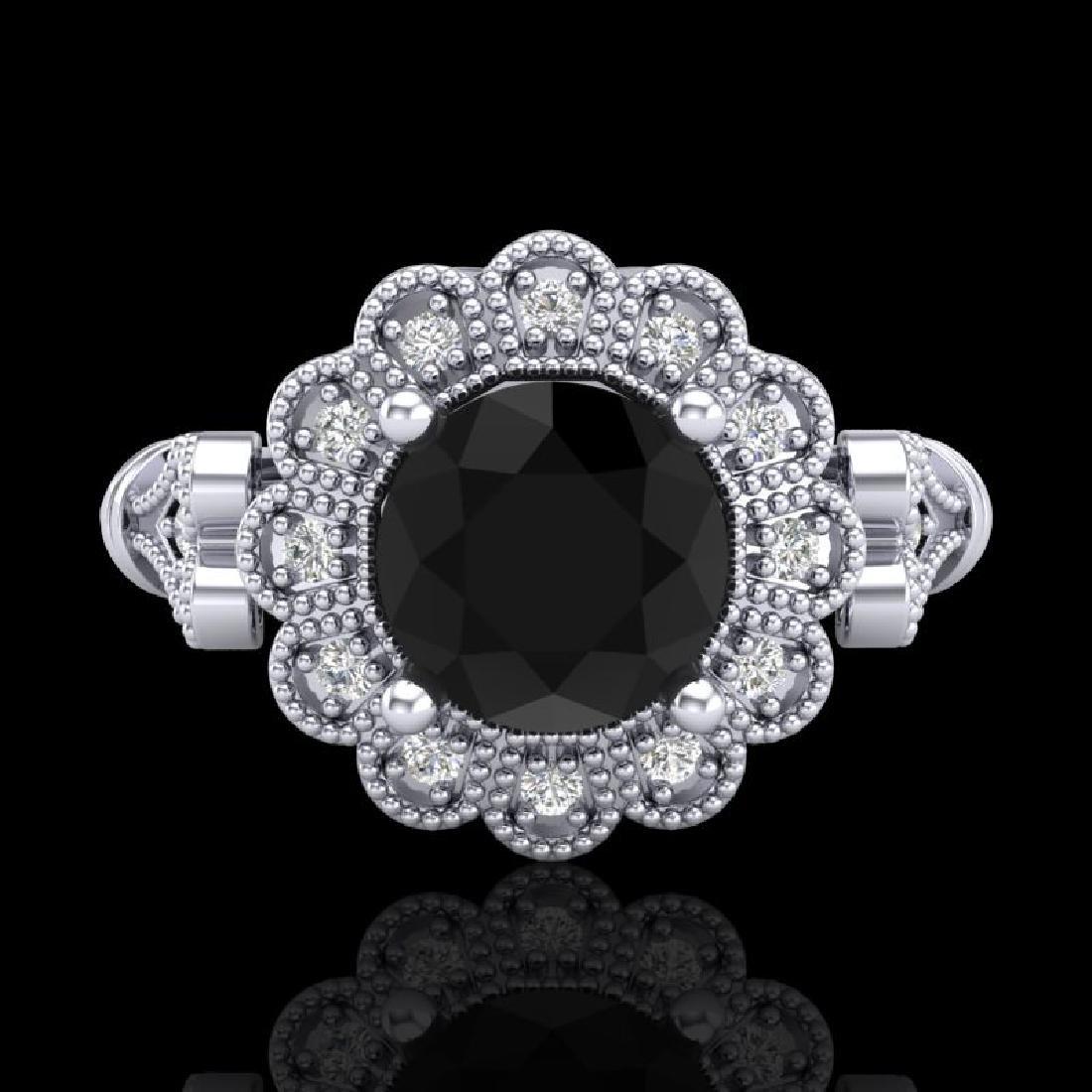 1.2 CTW Fancy Black Diamond Solitaire Engagement Art - 2