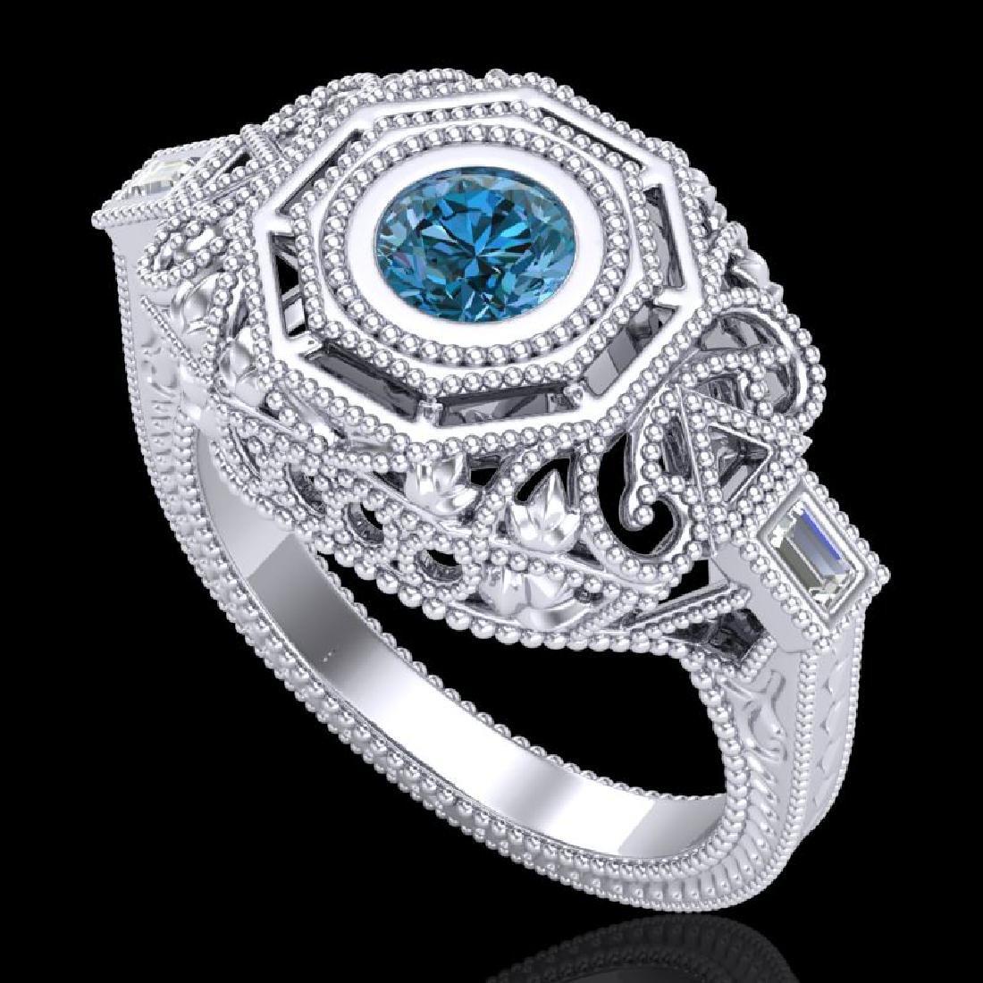 0.75 CTW Fancy Intense Blue Diamond Solitaire Art Deco