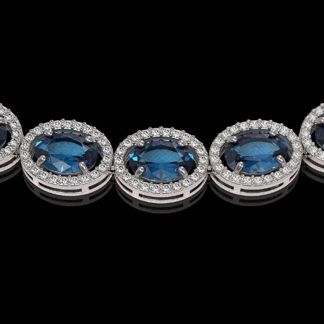 55.41 CTW London Topaz & Diamond Halo Necklace 10K - 3