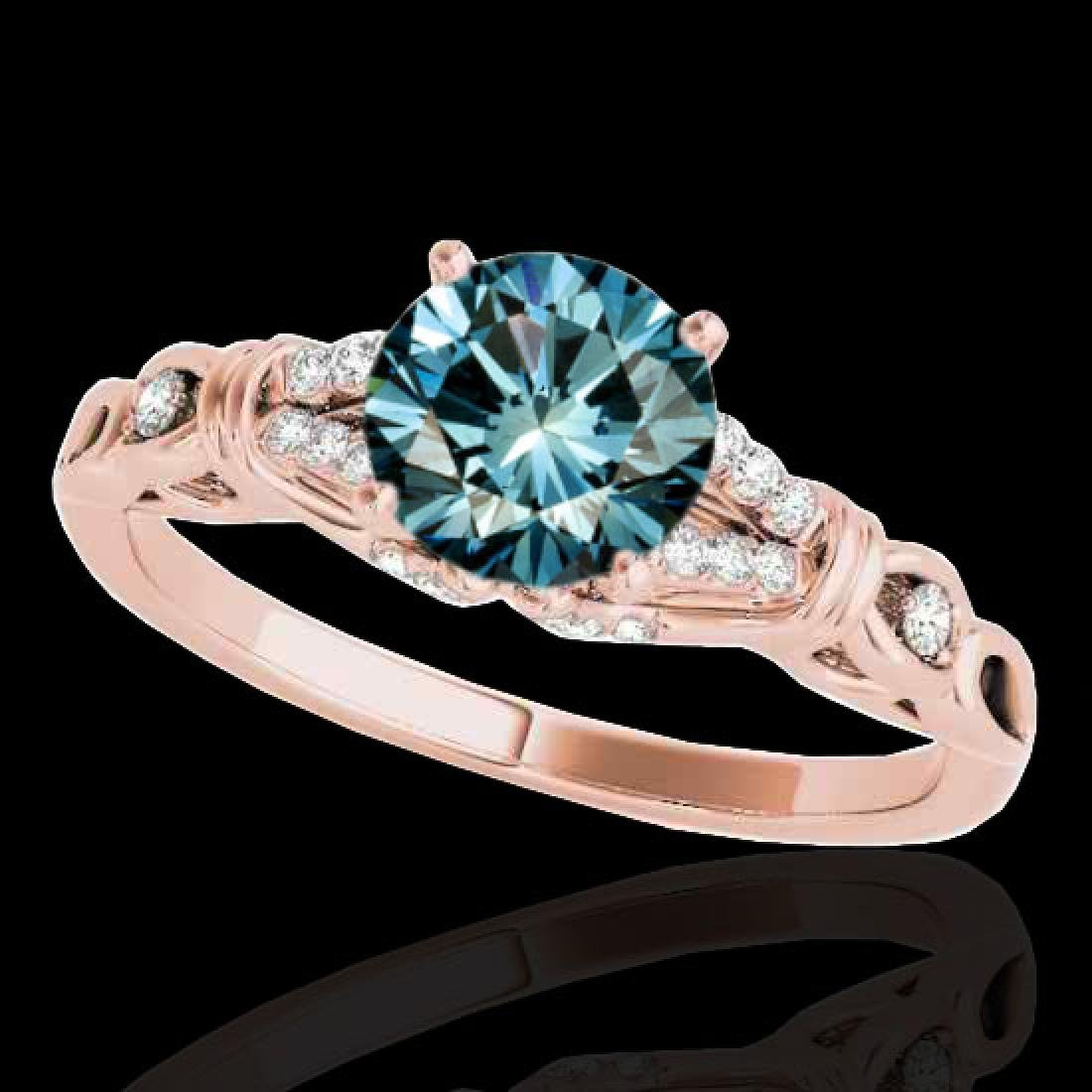 1.2 CTW SI Certified Fancy Blue Diamond Solitaire Ring