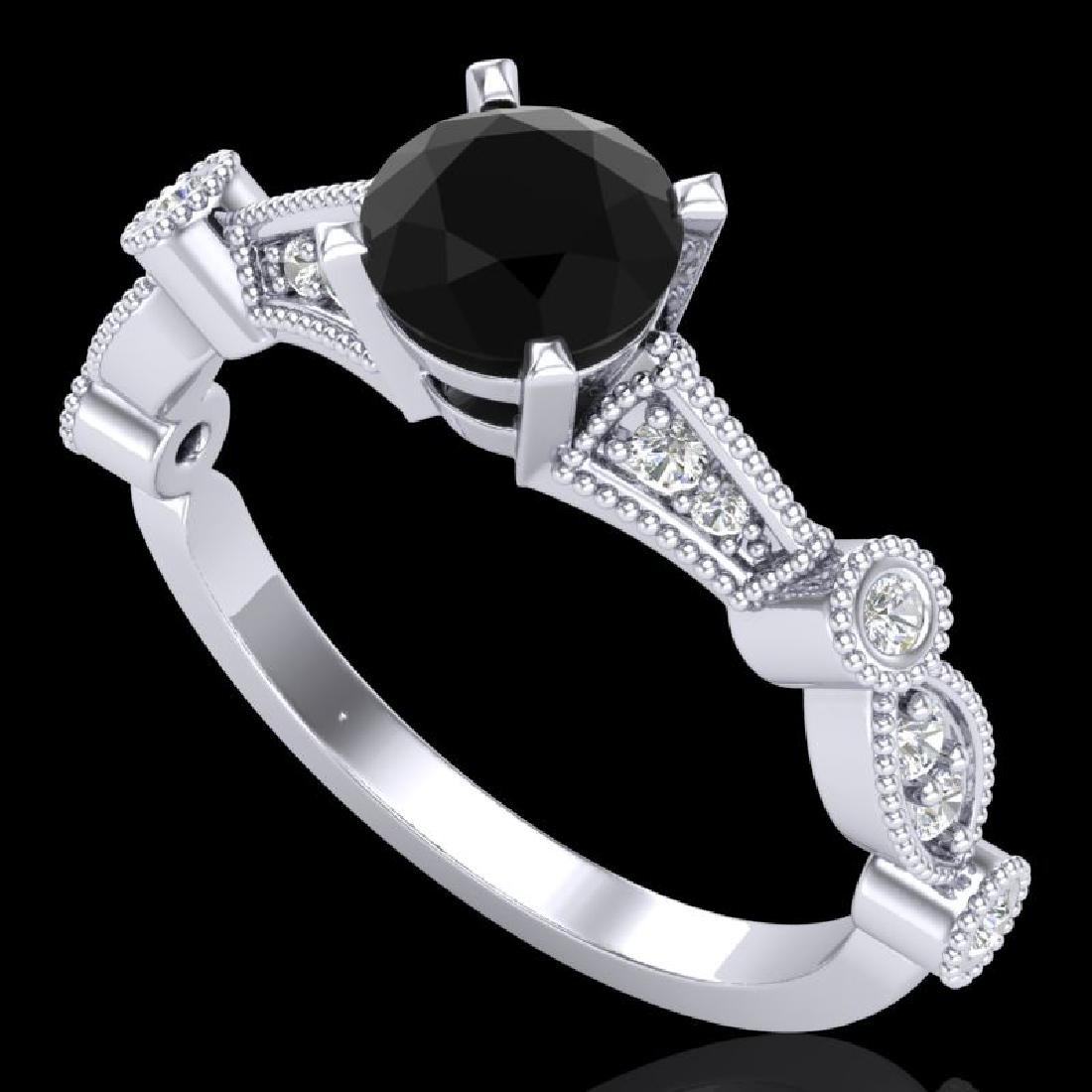 1.03 CTW Fancy Black Diamond Solitaire Engagement Art