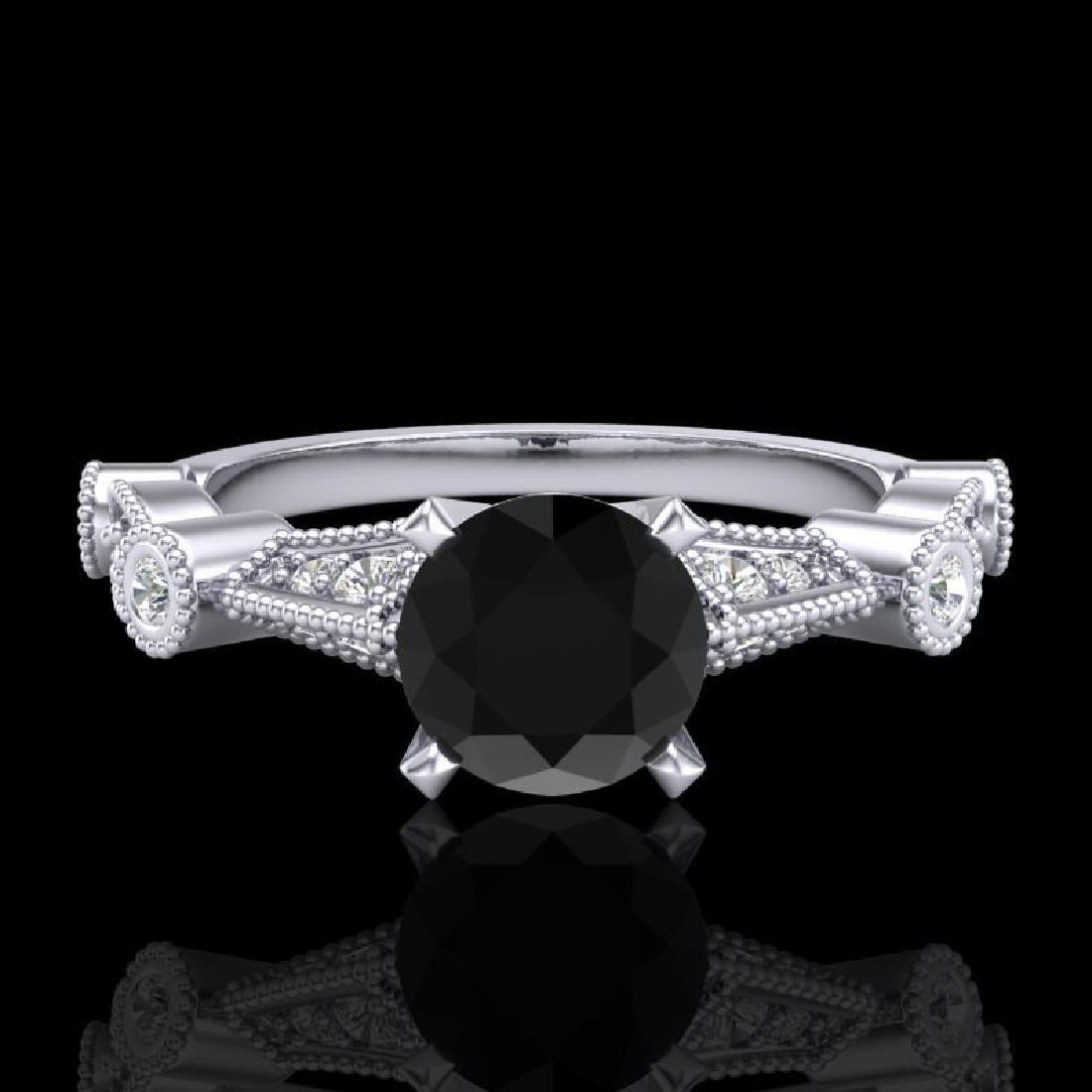 1.03 CTW Fancy Black Diamond Solitaire Engagement Art - 2