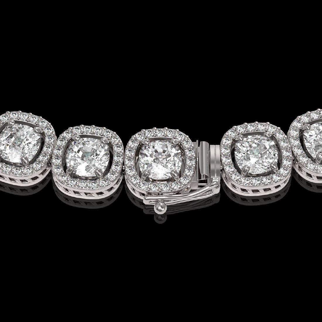 32.64 CTW Cushion Diamond Designer Necklace 18K White - 3
