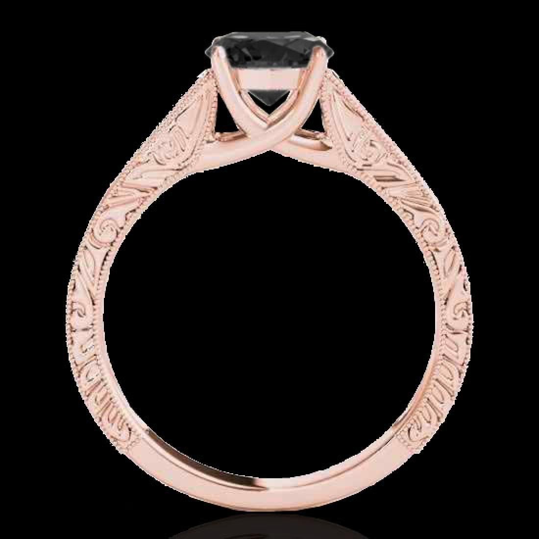 1 CTW Certified VS Black Diamond Solitaire Ring 10K - 2
