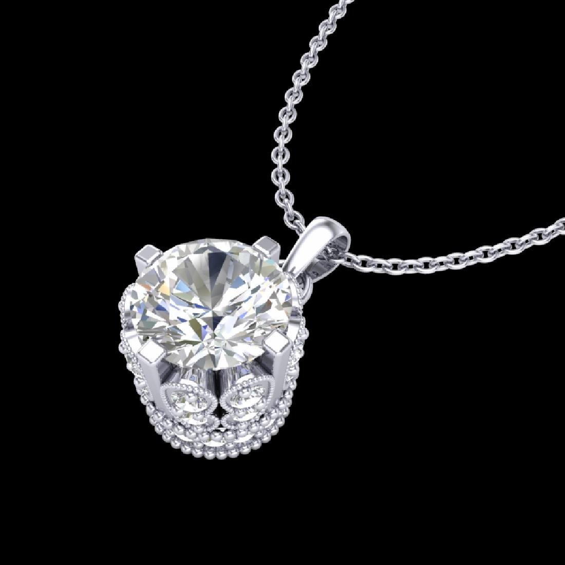 0.85 CTW VS/SI Diamond Solitaire Art Deco Stud Necklace - 2