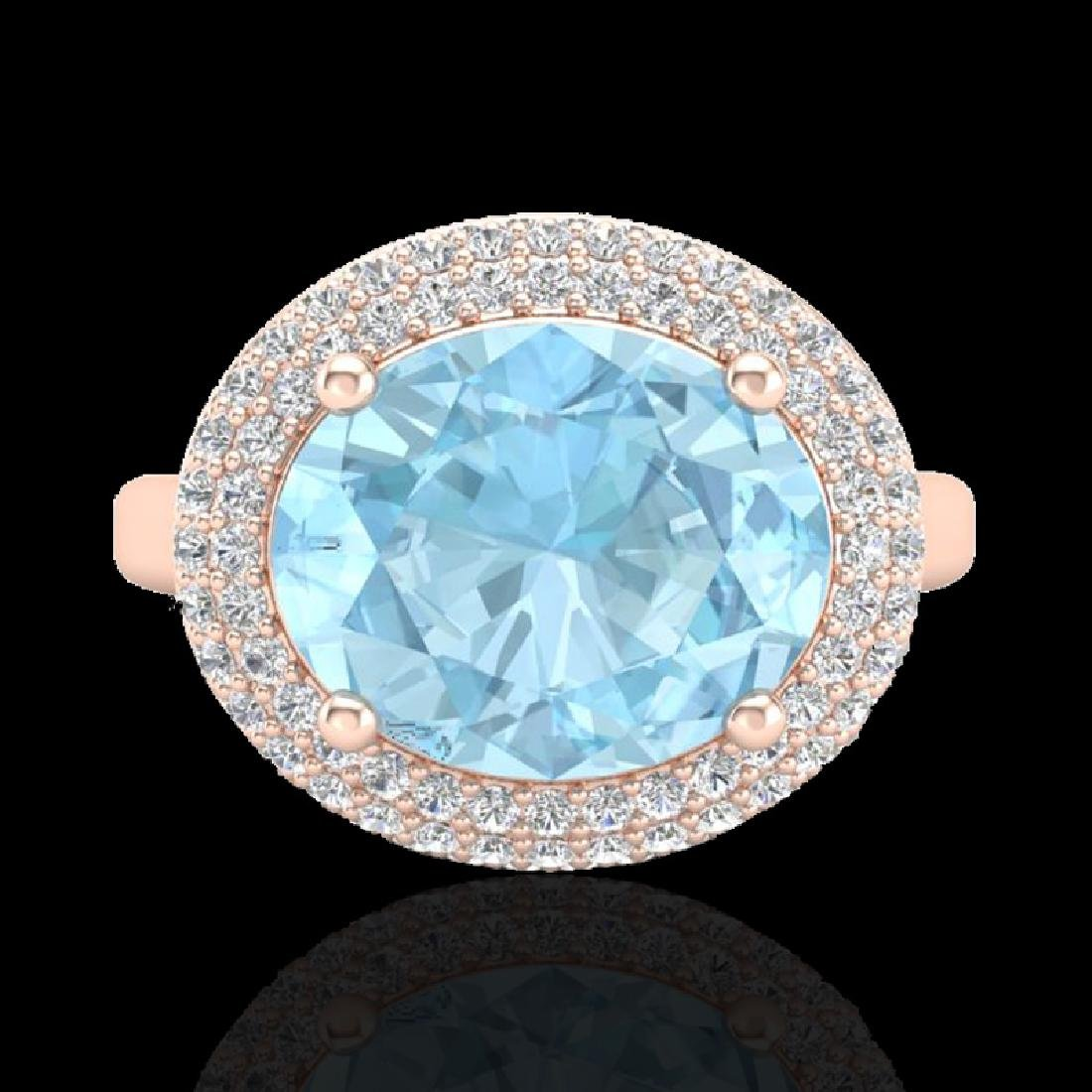 4 CTW Aquamarine & Micro Pave VS/SI Diamond Ring 14K - 2