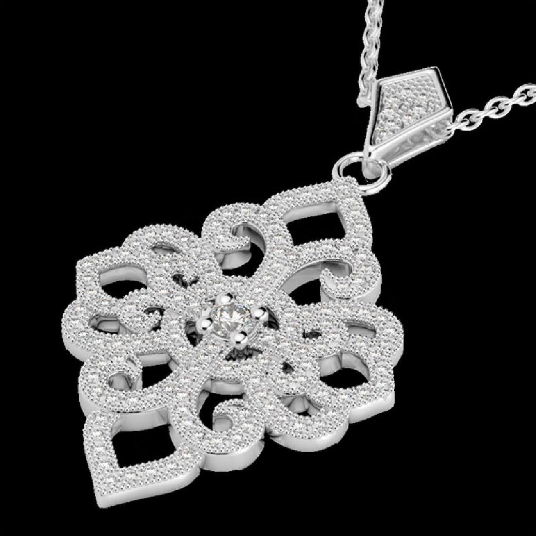 1.40 CTW Micro Pave VS/SI Diamond Designer Necklace 14K - 2