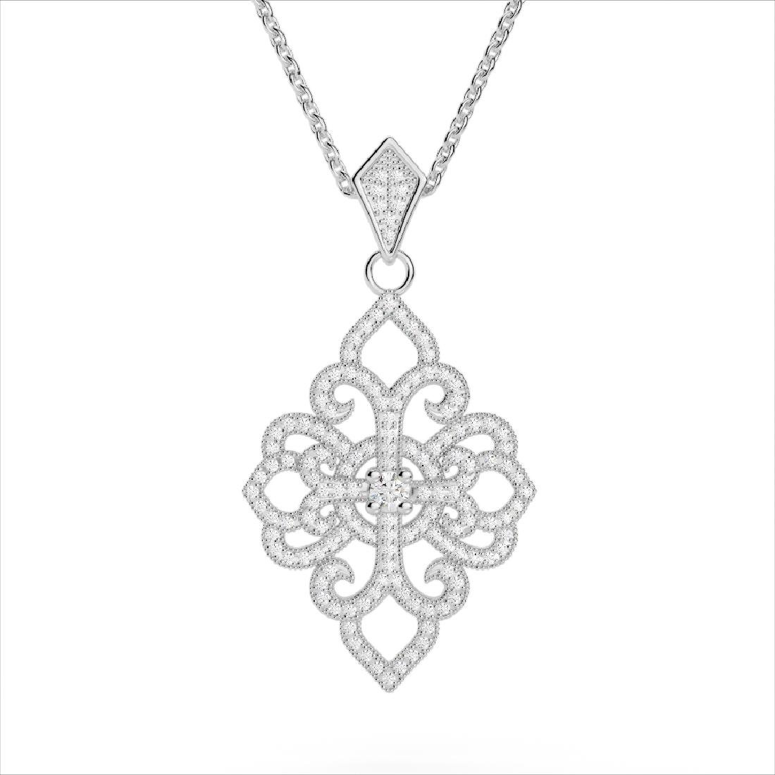 1.40 CTW Micro Pave VS/SI Diamond Designer Necklace 14K - 3