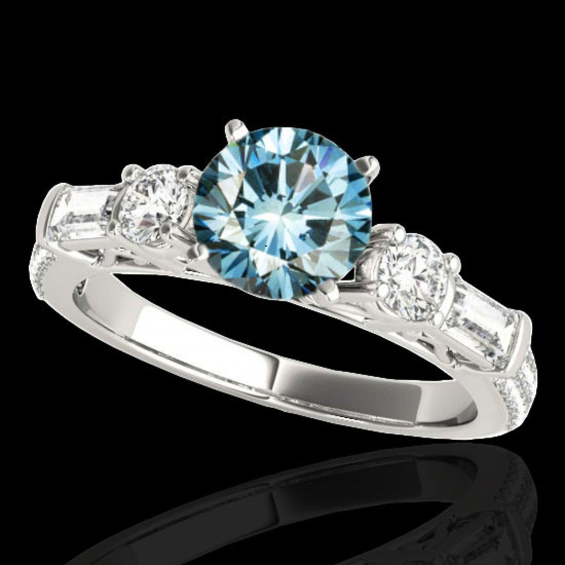 2.5 CTW SI Certified Fancy Blue Diamond Pave Solitaire