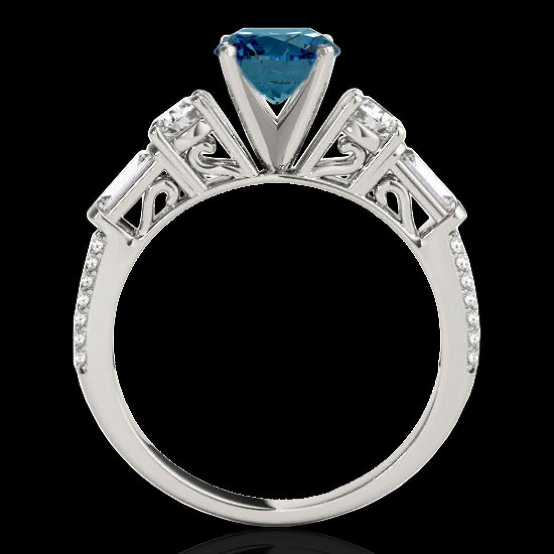 2.5 CTW SI Certified Fancy Blue Diamond Pave Solitaire - 2