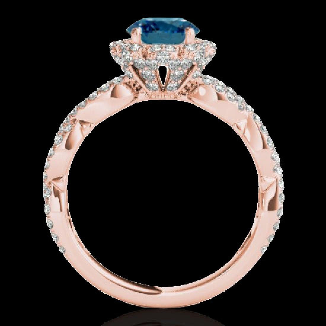 1.69 CTW SI Certified Fancy Blue Diamond Solitaire Halo - 2