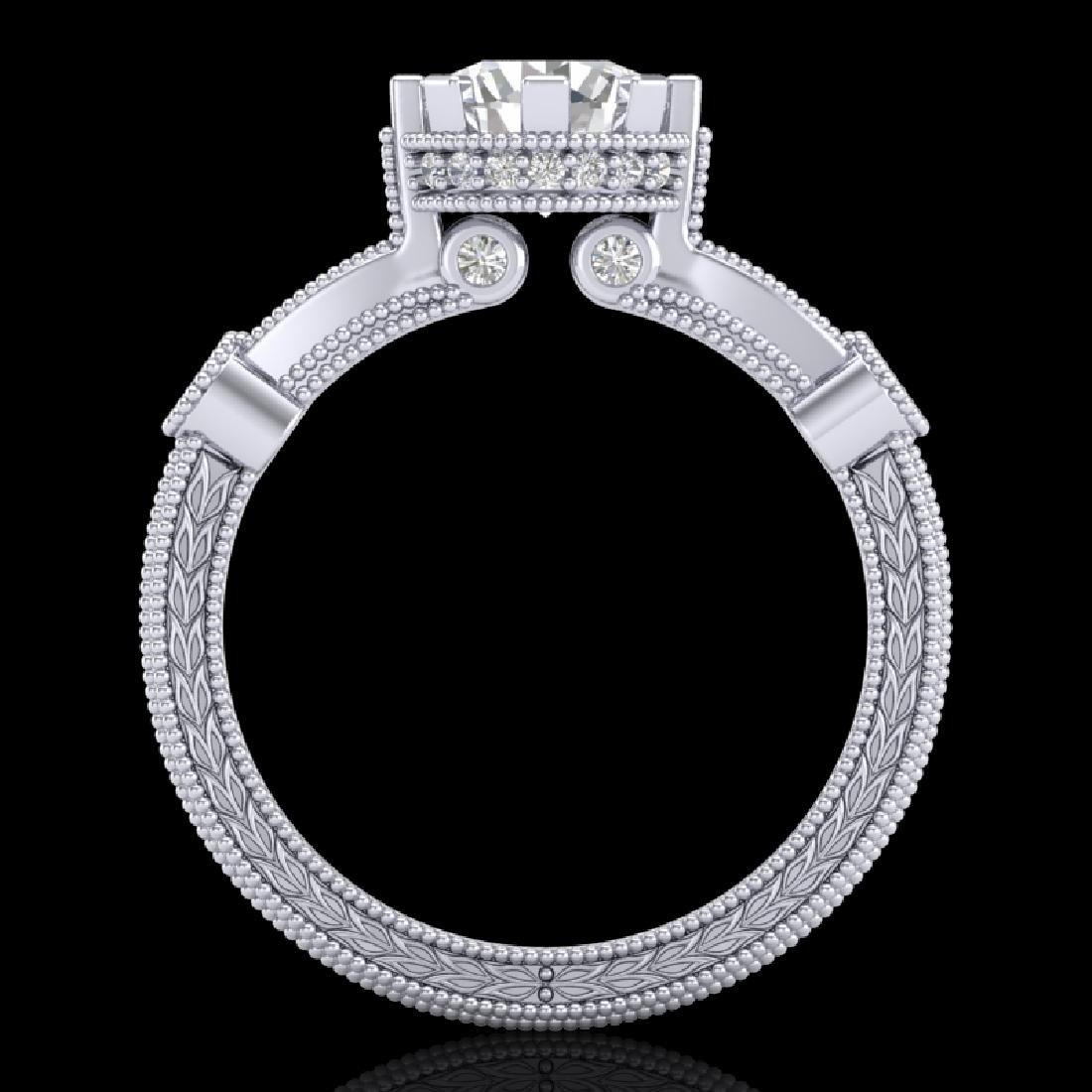 1.71 CTW VS/SI Diamond Art Deco Ring 18K White Gold