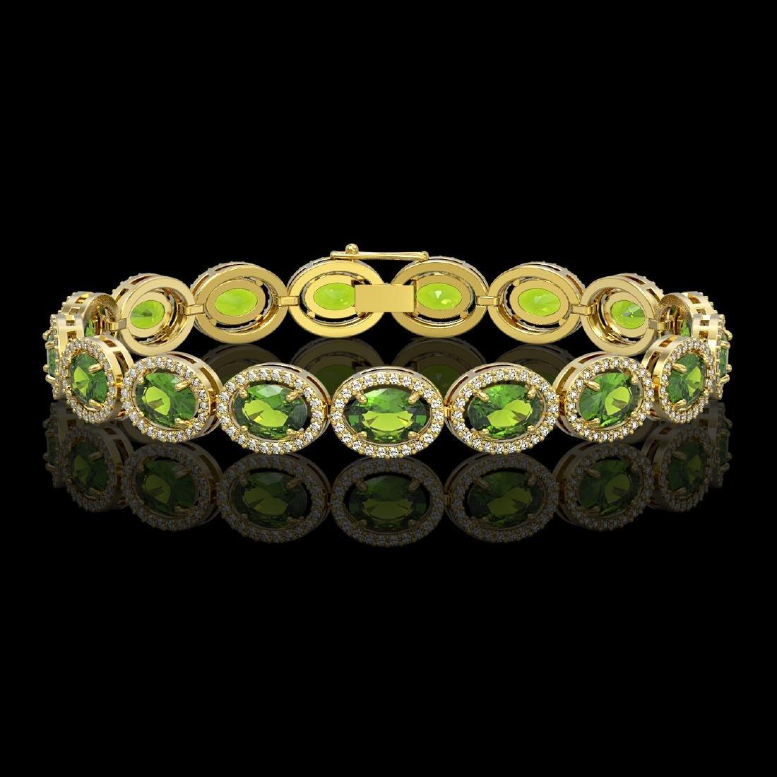 21.13 CTW Peridot & Diamond Halo Bracelet 10K Yellow