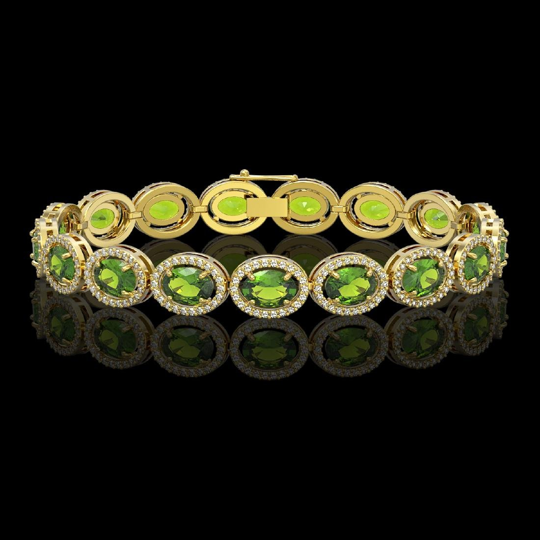 21.13 CTW Peridot & Diamond Halo Bracelet 10K Yellow