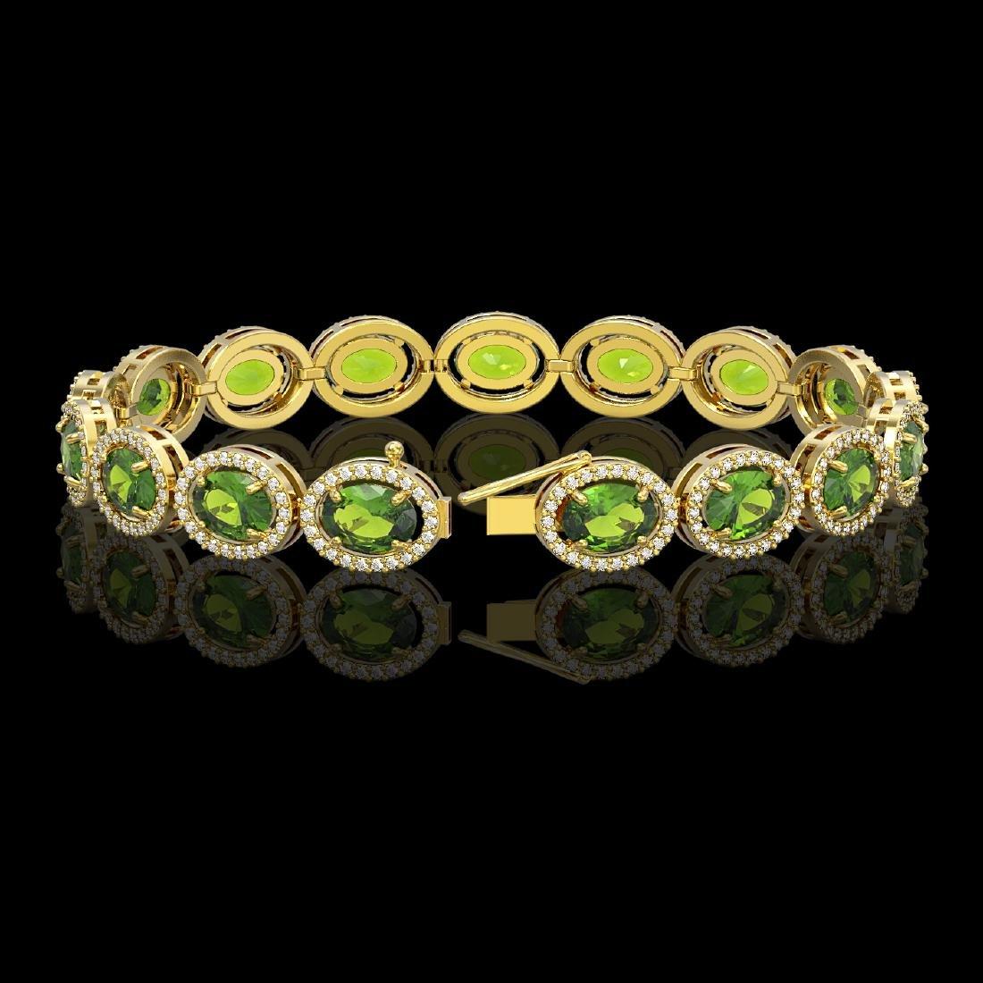 21.13 CTW Peridot & Diamond Halo Bracelet 10K Yellow - 2