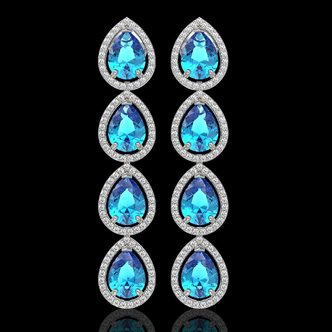 10.8 CTW Swiss Topaz & Diamond Halo Earrings 10K White
