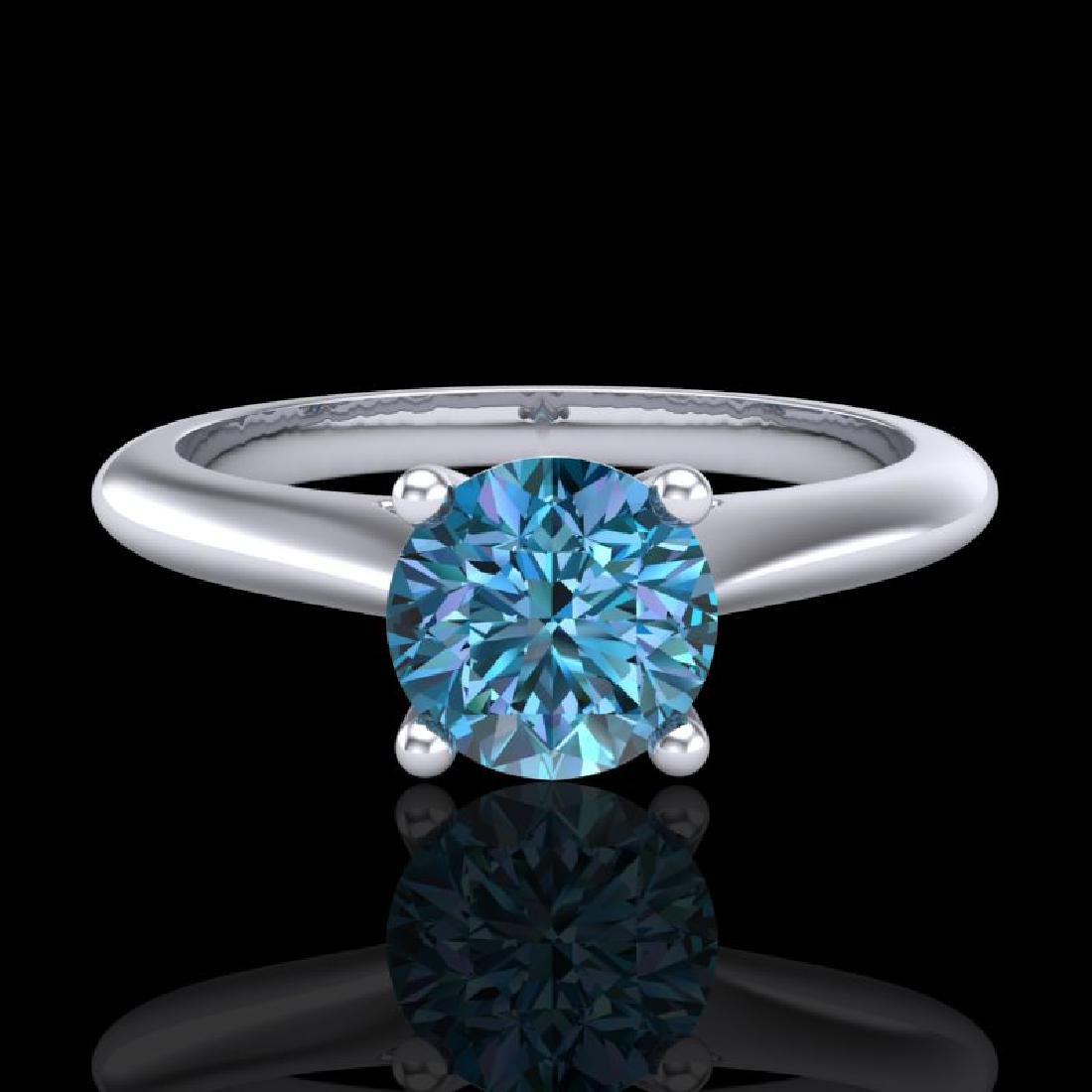 0.83 CTW Fancy Intense Blue Diamond Solitaire Art Deco