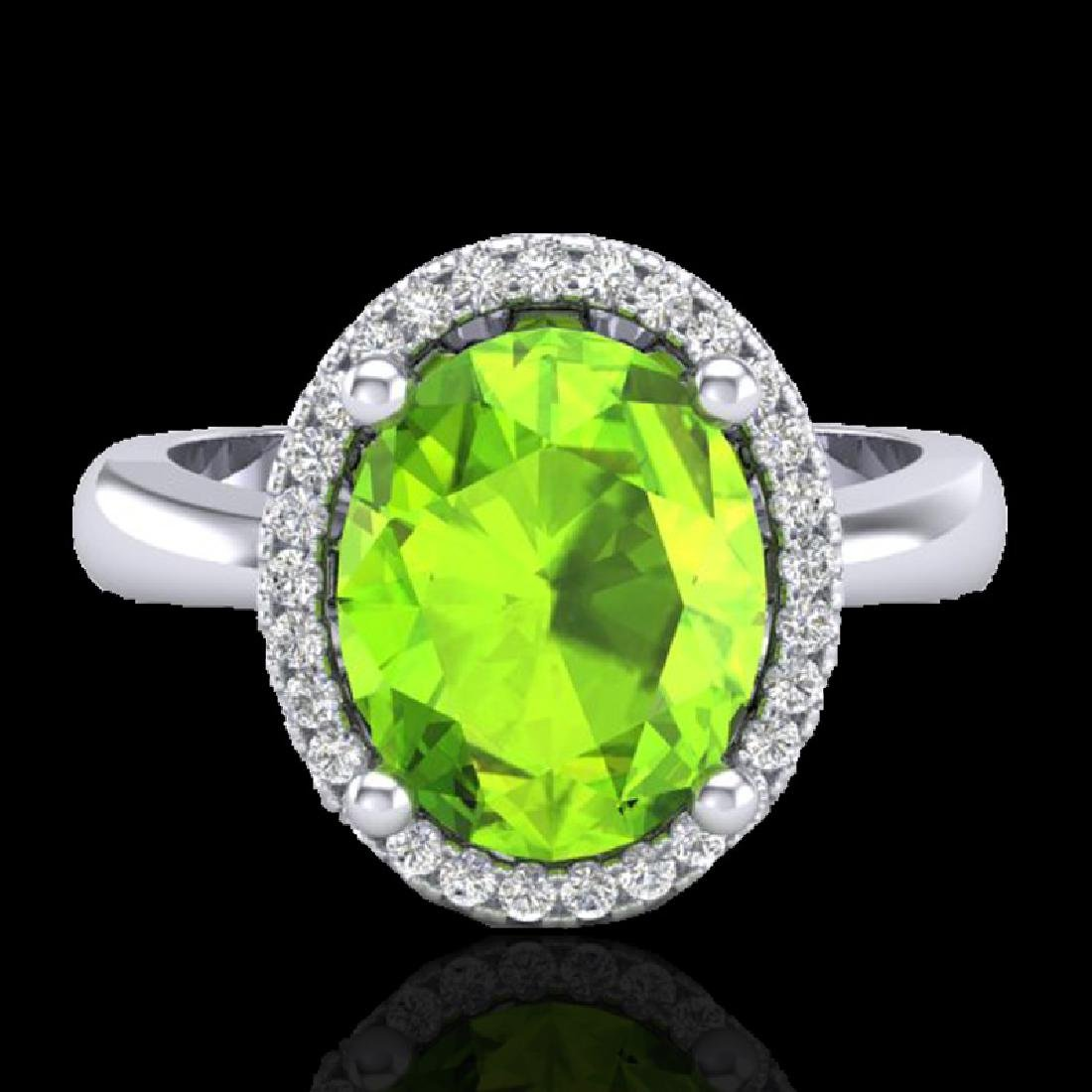2.50 CTW Peridot & Micro Pave VS/SI Diamond Ring Halo