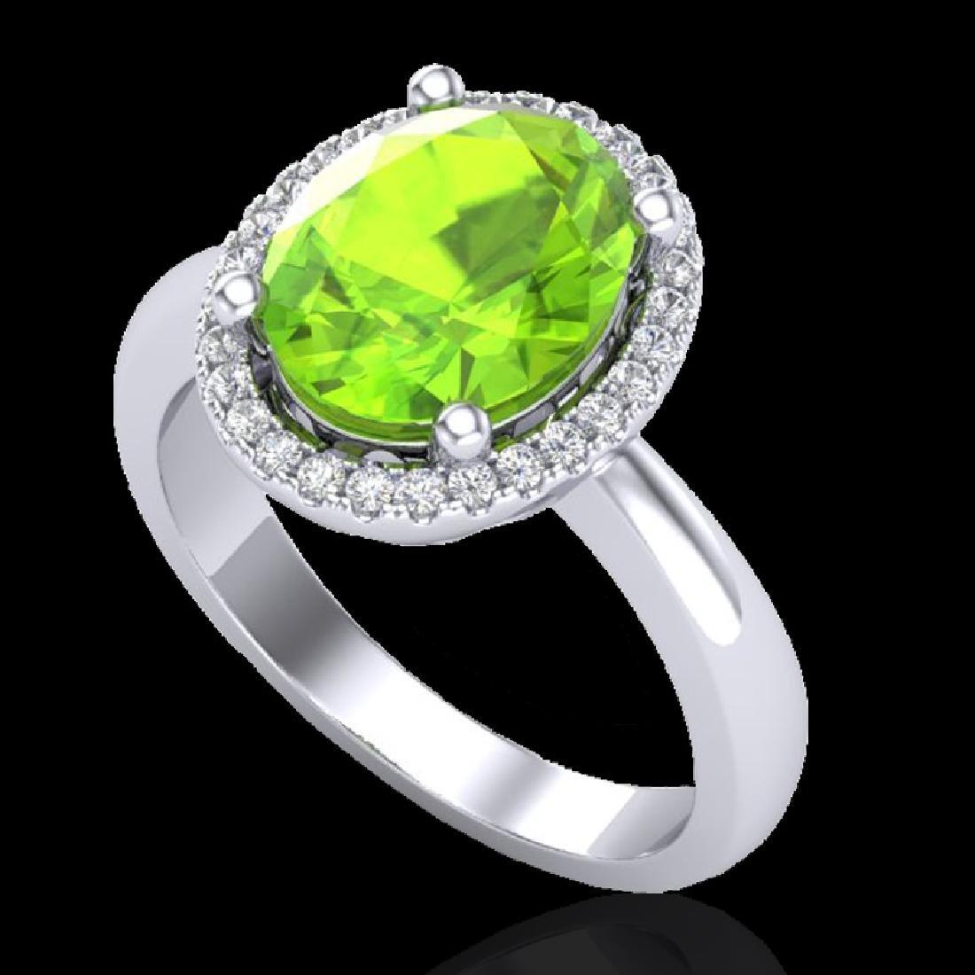 2.50 CTW Peridot & Micro Pave VS/SI Diamond Ring Halo - 2
