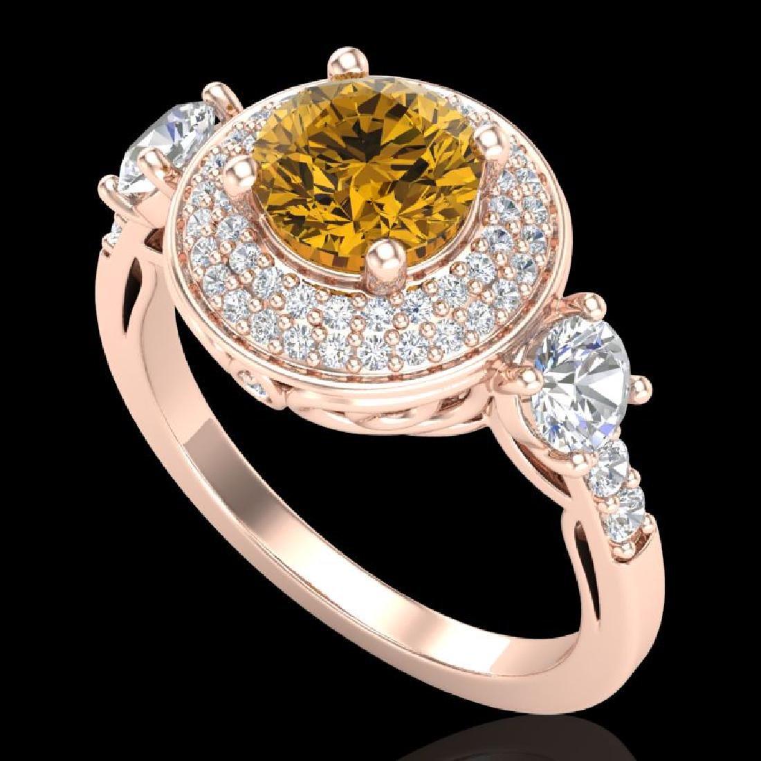 2.05 CTW Intense Fancy Yellow Diamond Art Deco 3 Stone