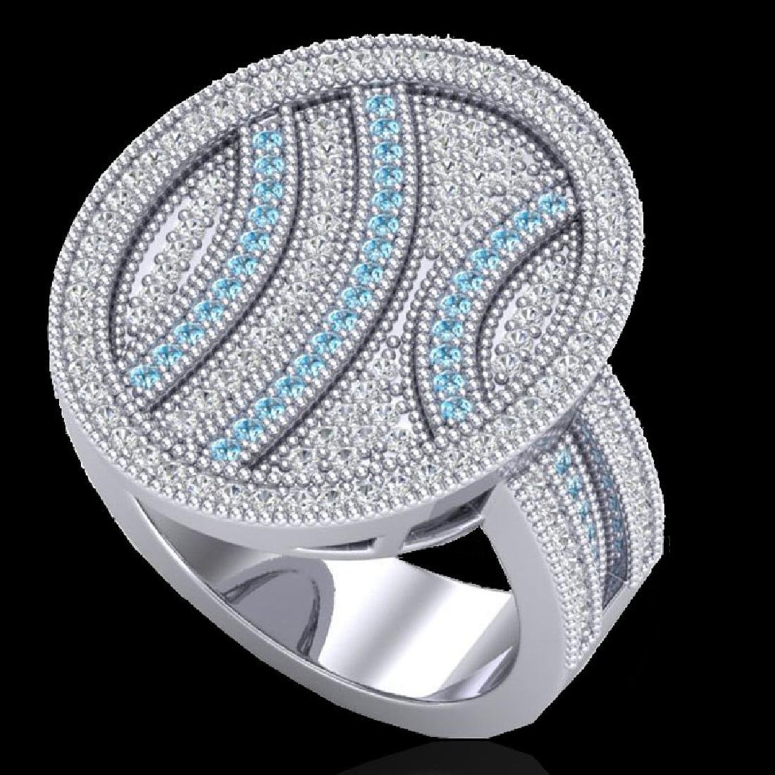 1.25 CTW Micro Pave Blue & White VS/SI Diamond Ring 14K