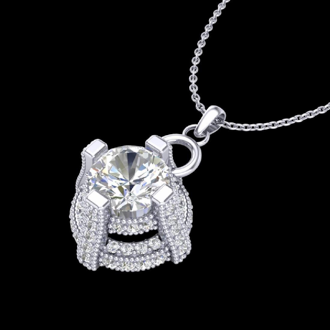 1.57 CTW VS/SI Diamond Micro Pave Stud Necklace 18K - 2
