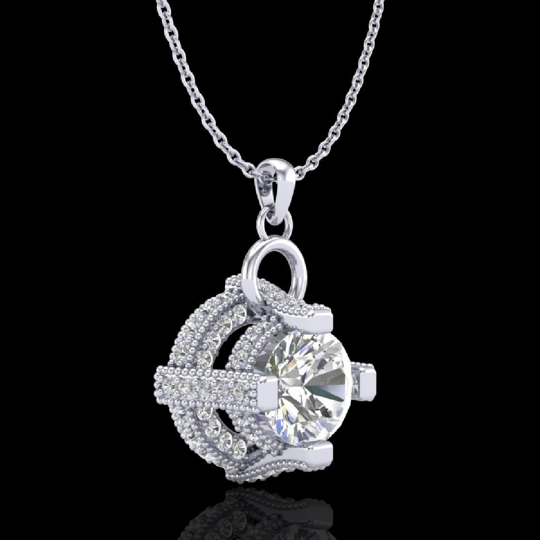 1.57 CTW VS/SI Diamond Micro Pave Stud Necklace 18K - 3