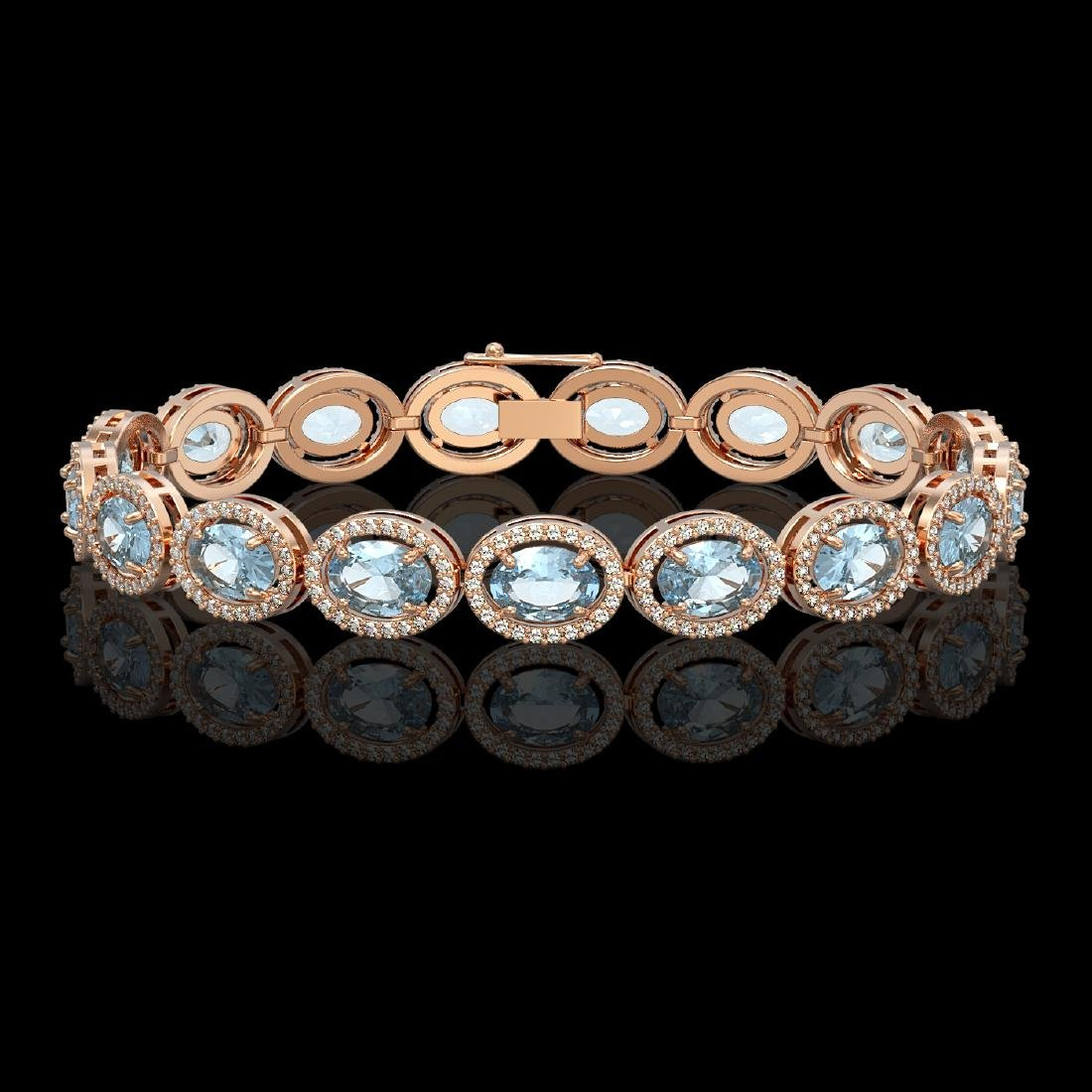 18.38 CTW Aquamarine & Diamond Halo Bracelet 10K Rose
