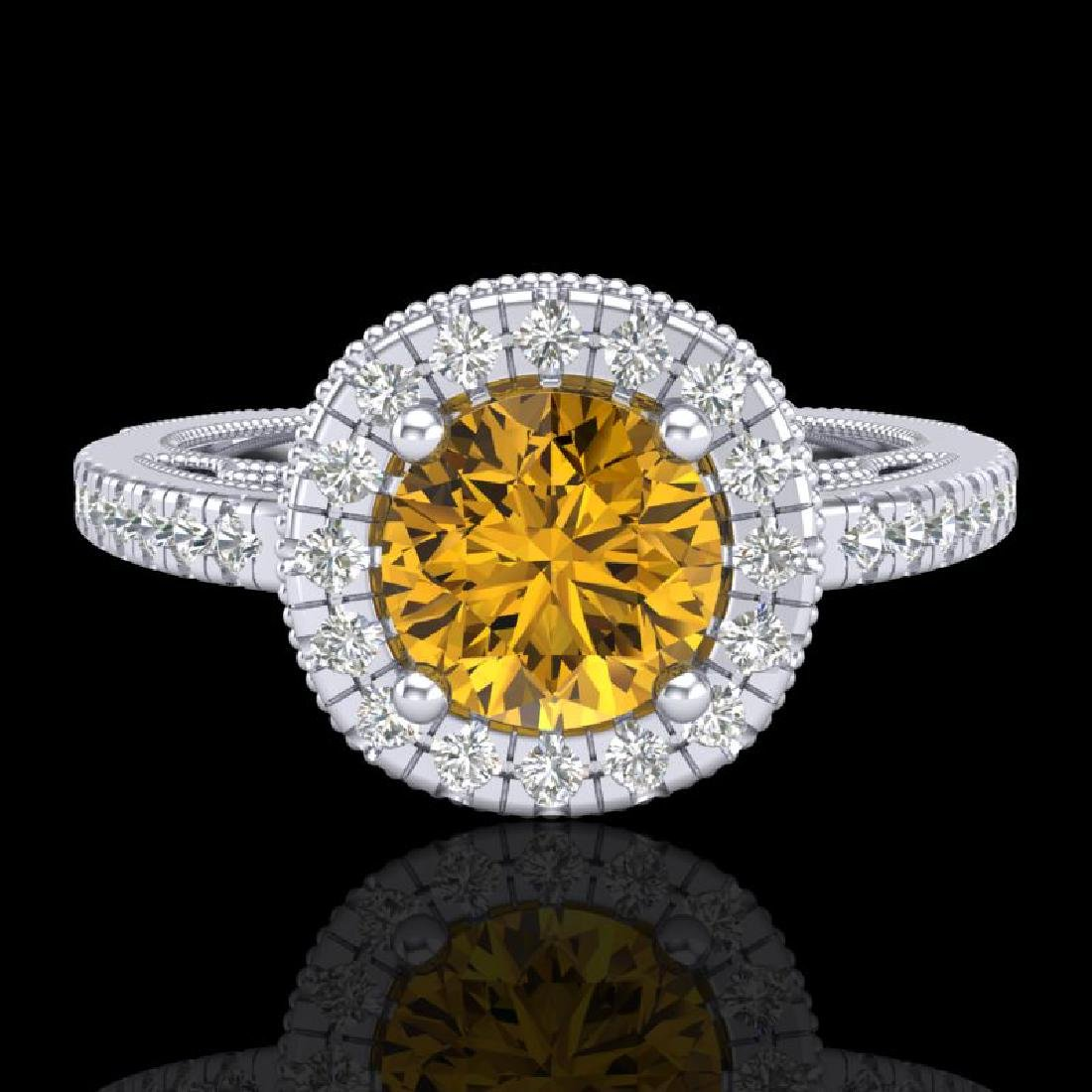 1.55 CTW Intense Fancy Yellow Diamond Engagement Art - 2