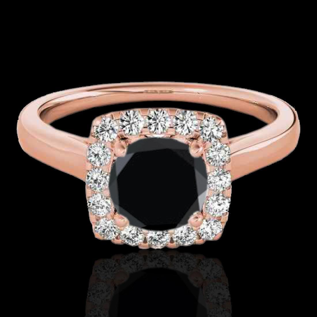 1.37 CTW Certified VS Black Diamond Solitaire Halo Ring