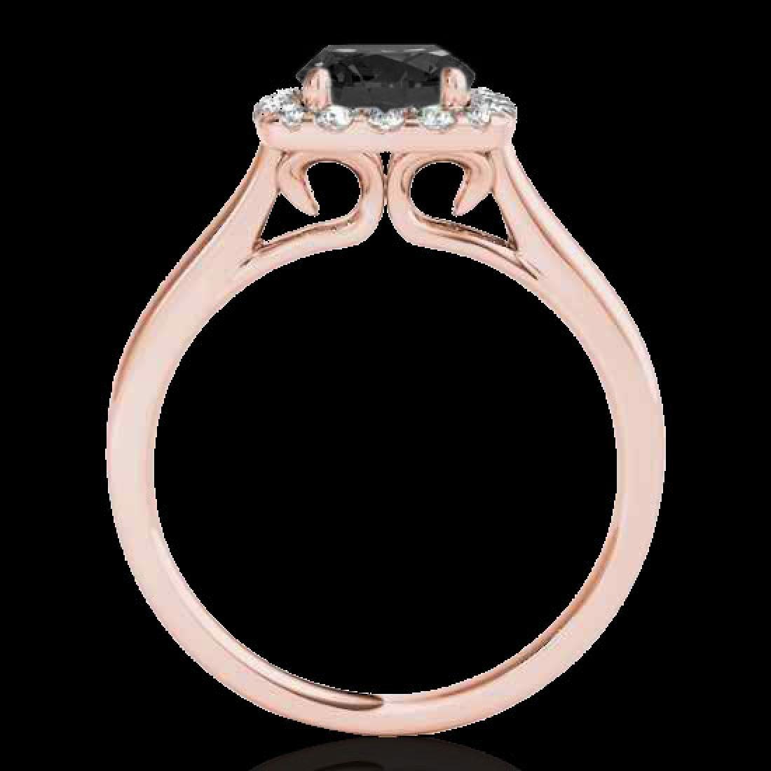1.37 CTW Certified VS Black Diamond Solitaire Halo Ring - 2