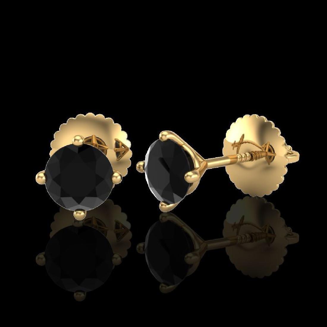 0.65 CTW Fancy Black Diamond Solitaire Art Deco Stud - 2