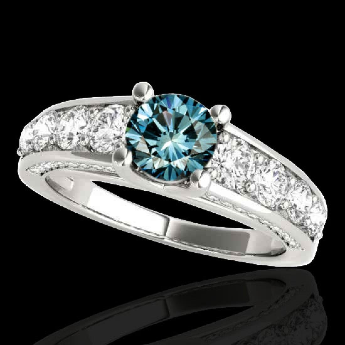 2.55 CTW SI Certified Fancy Blue Diamond Solitaire Ring