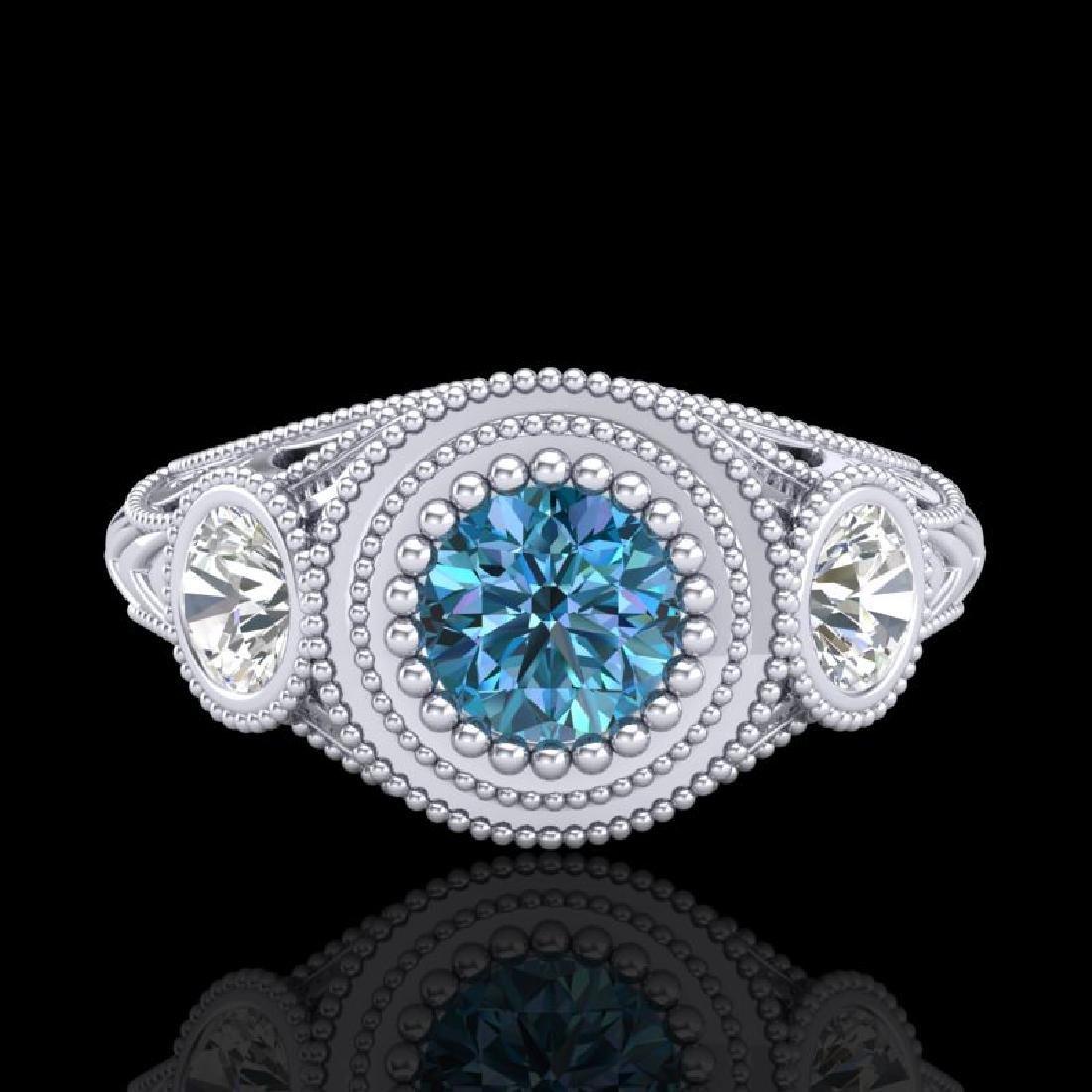 1.06 CTW Fancy Intense Blue Diamond Art Deco 3 Stone - 2