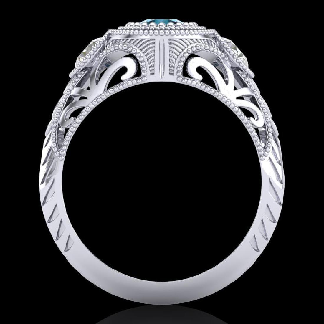 1.06 CTW Fancy Intense Blue Diamond Art Deco 3 Stone - 3