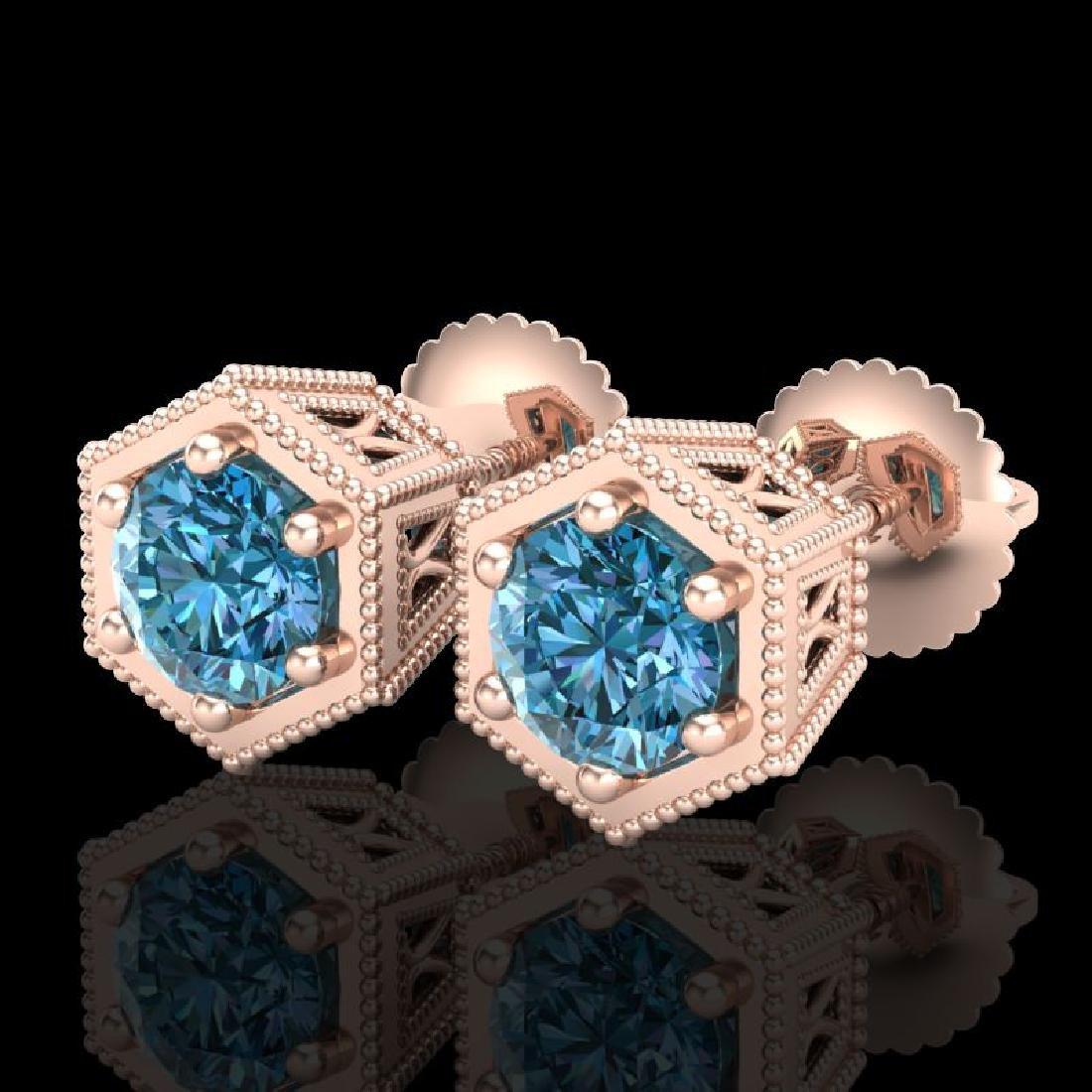 1.15 CTW Fancy Intense Blue Diamond Art Deco Stud