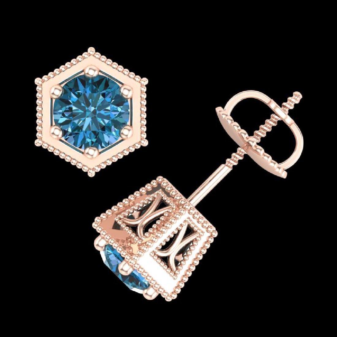 1.15 CTW Fancy Intense Blue Diamond Art Deco Stud - 3