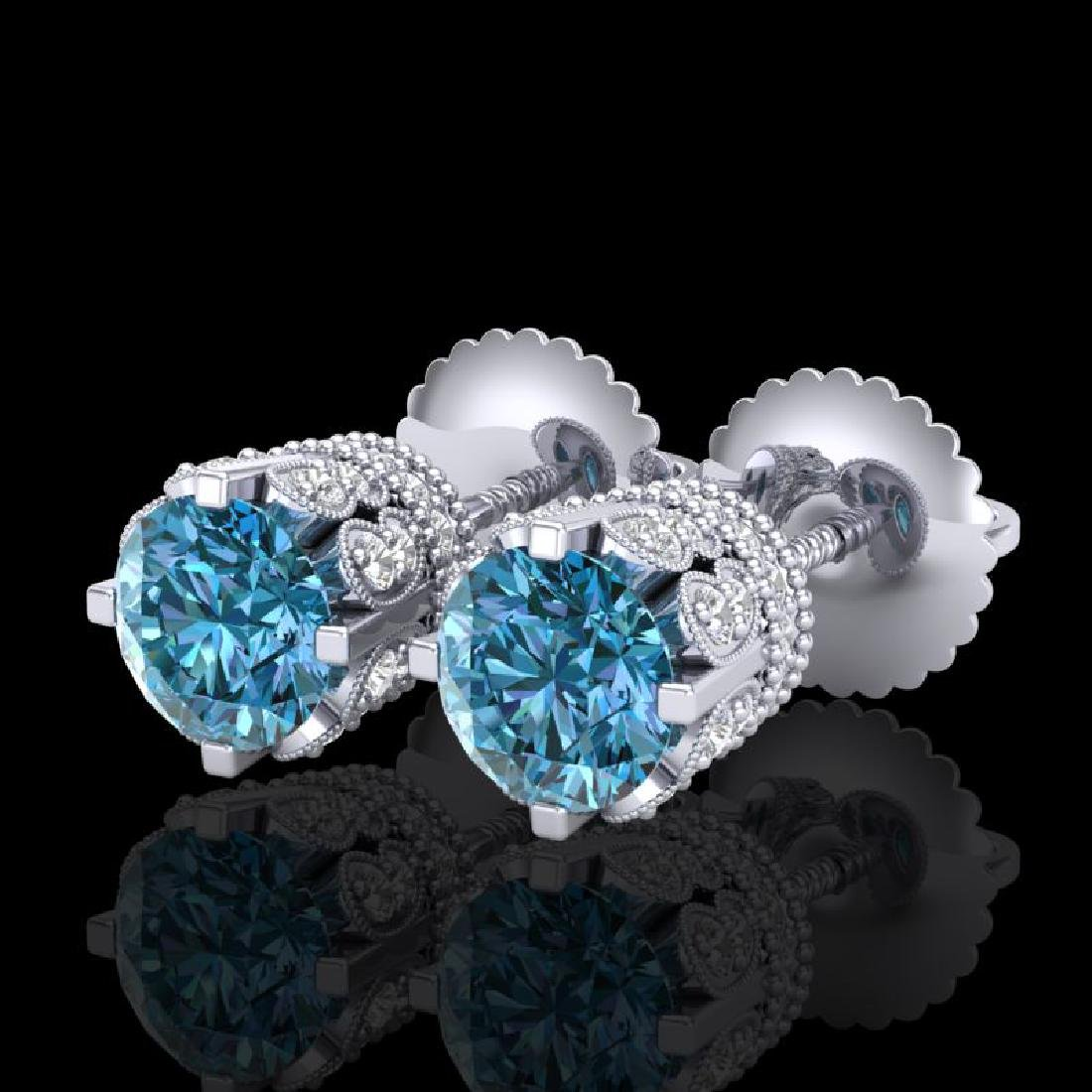 1.75 CTW Fancy Intense Blue Diamond Art Deco Stud