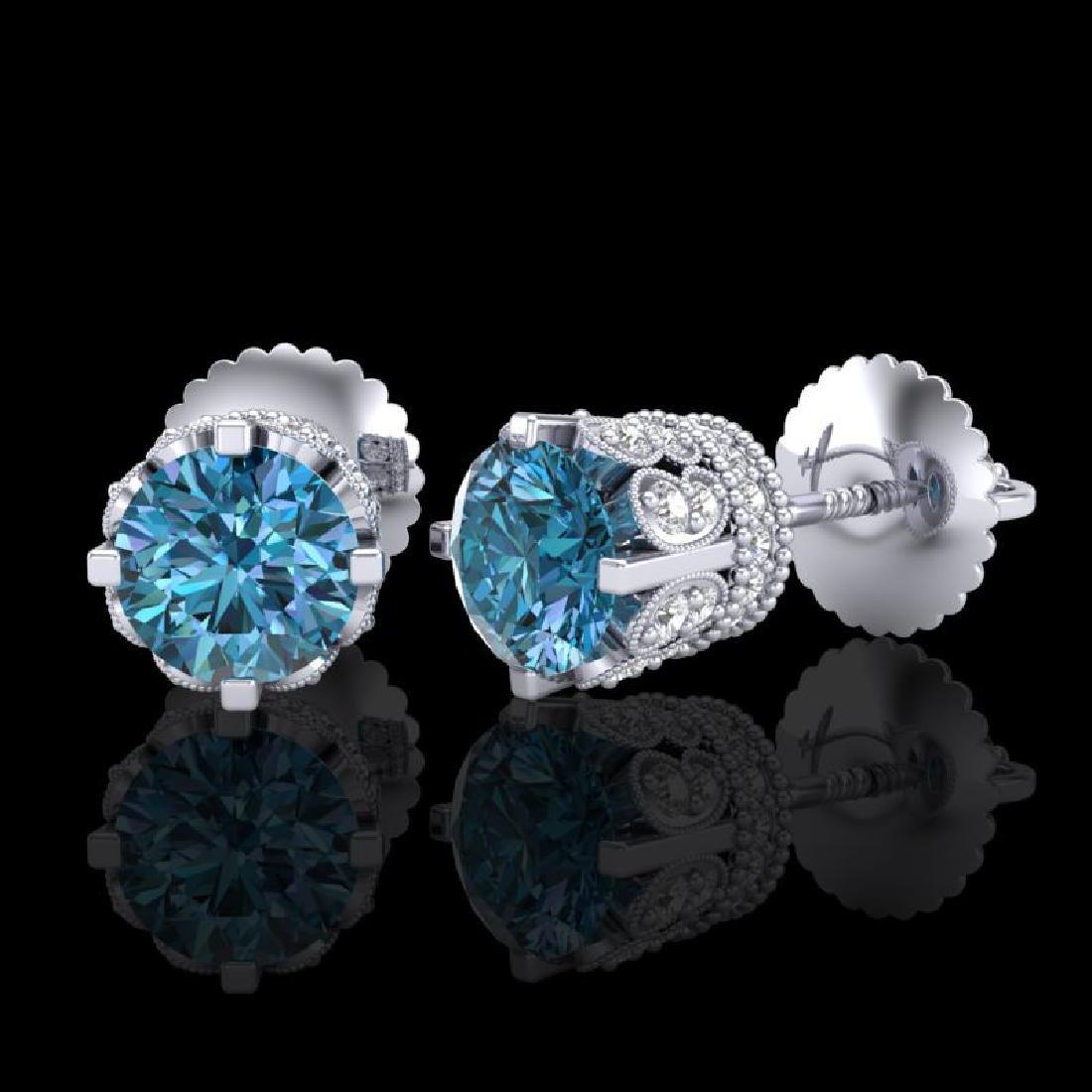 1.75 CTW Fancy Intense Blue Diamond Art Deco Stud - 2