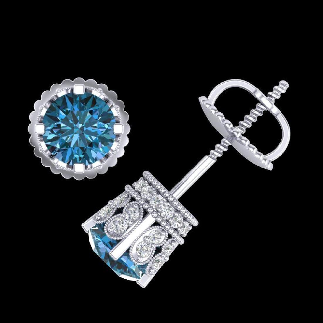 1.75 CTW Fancy Intense Blue Diamond Art Deco Stud - 3