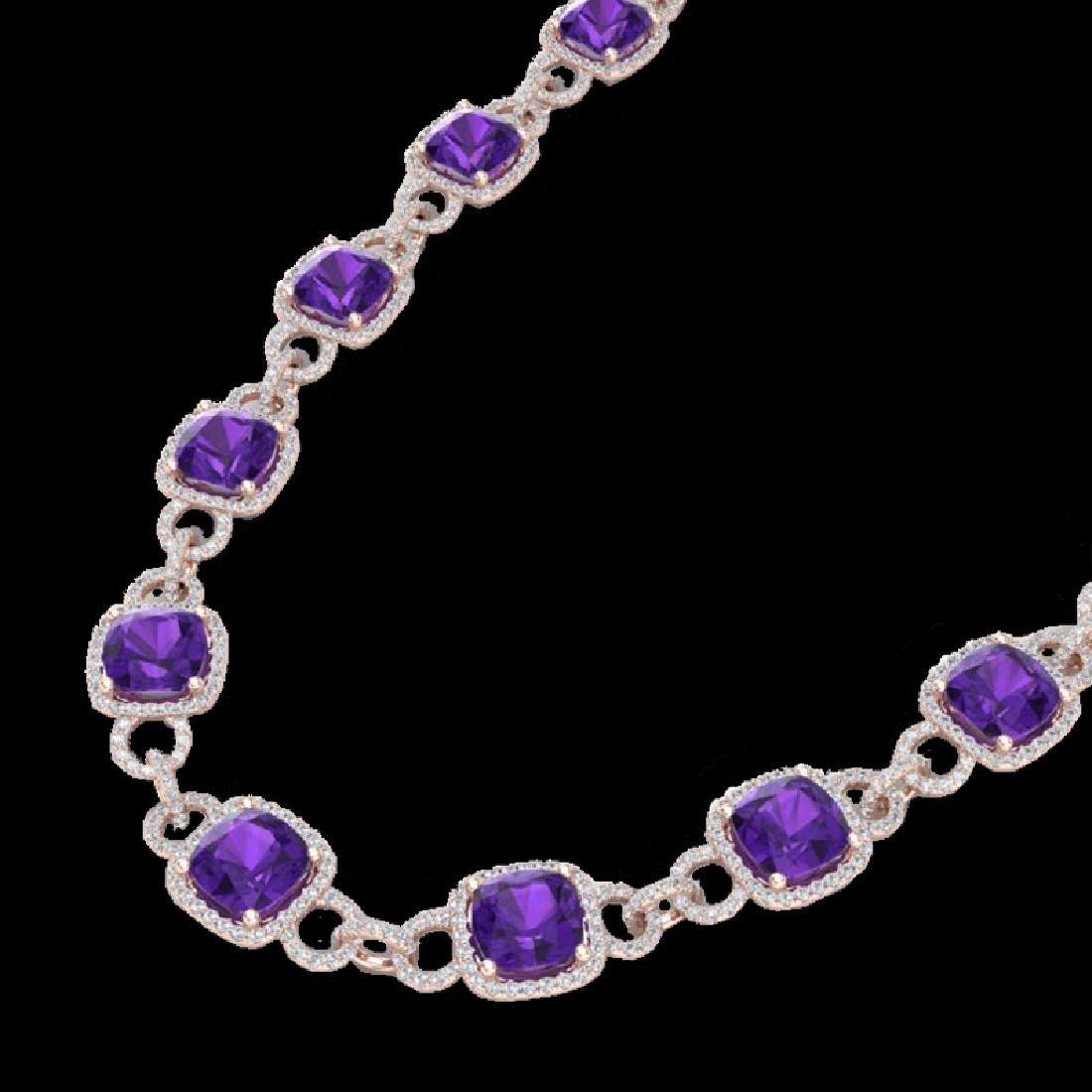 66 CTW Amethyst & Micro VS/SI Diamond Eternity Necklace