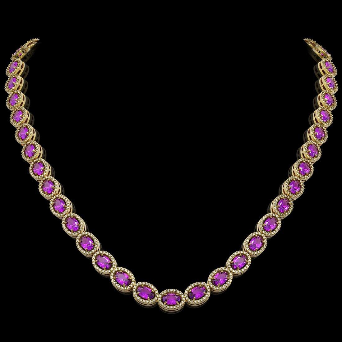 29.38 CTW Amethyst & Diamond Halo Necklace 10K Yellow