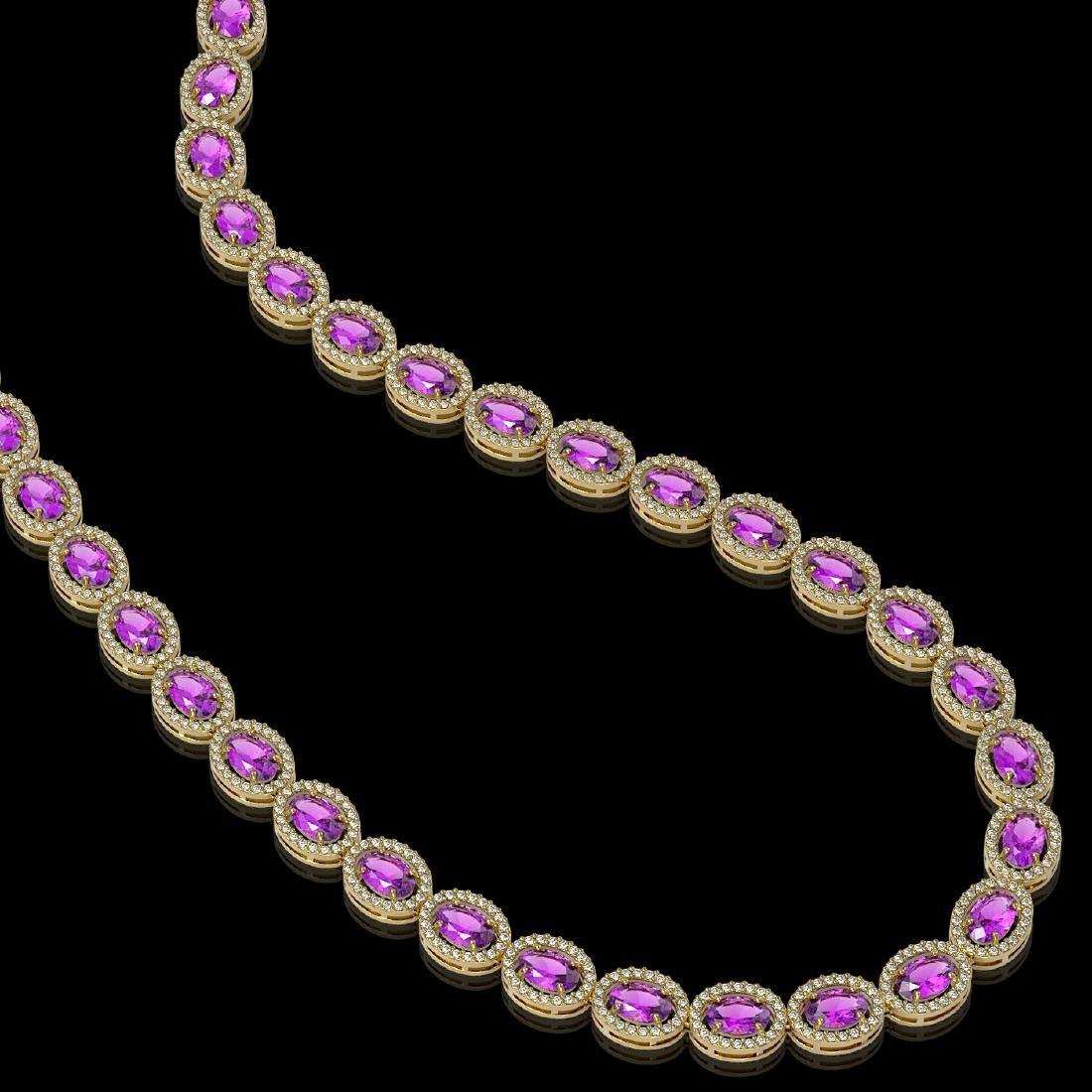 29.38 CTW Amethyst & Diamond Halo Necklace 10K Yellow - 2