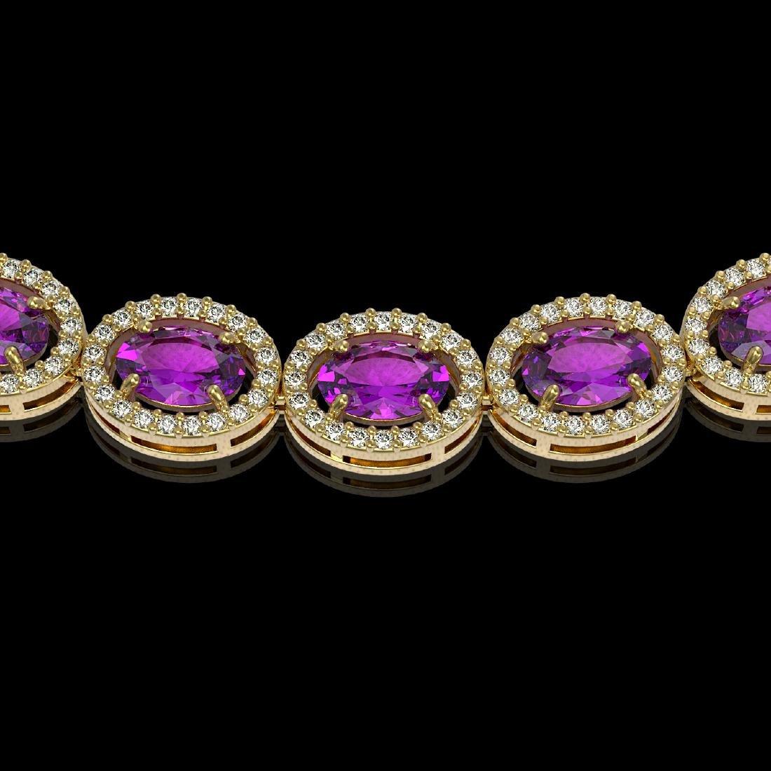 29.38 CTW Amethyst & Diamond Halo Necklace 10K Yellow - 3