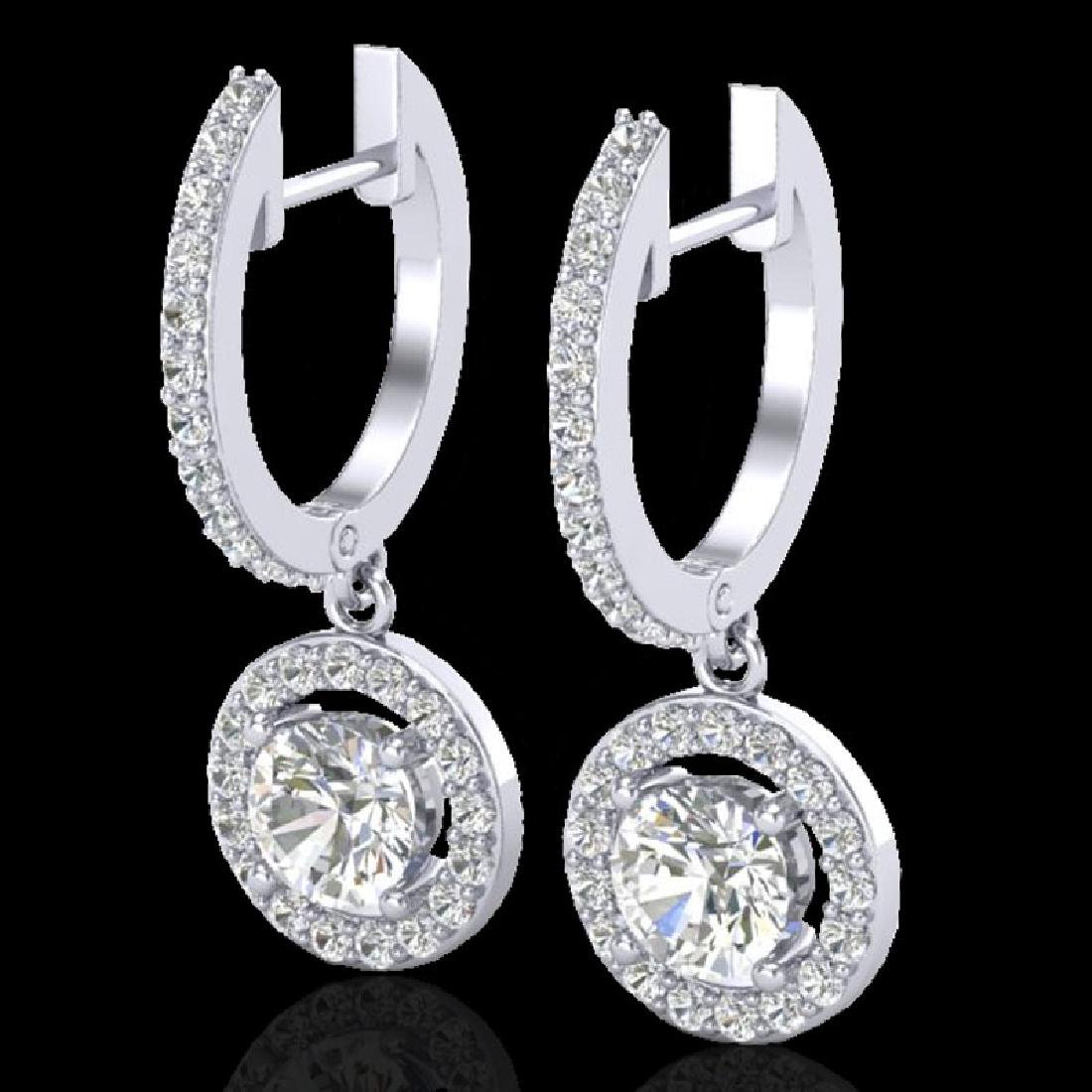 1.75 CTW Micro Pave Halo VS/SI Diamond Earrings 18K
