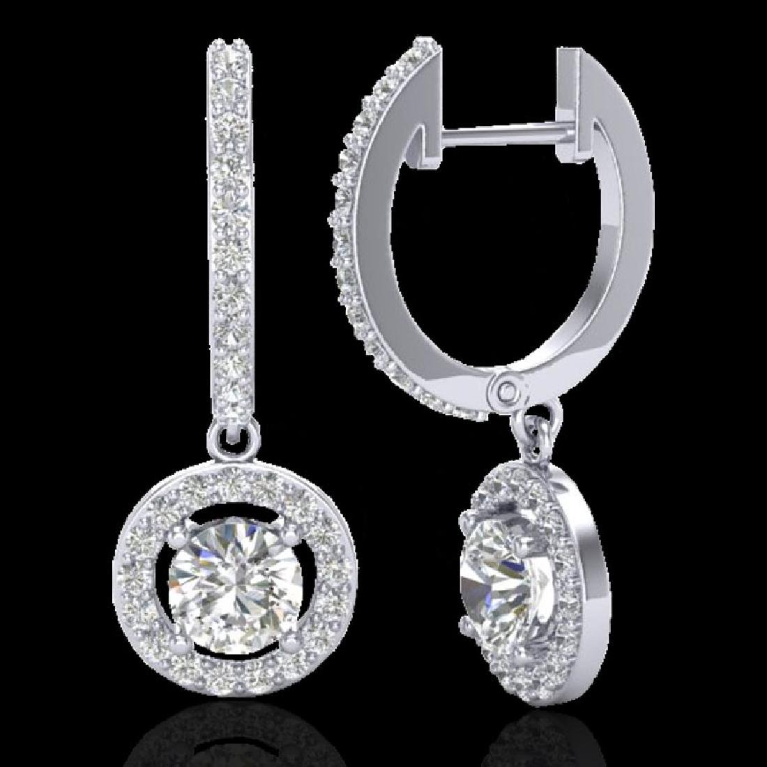 1.75 CTW Micro Pave Halo VS/SI Diamond Earrings 18K - 2
