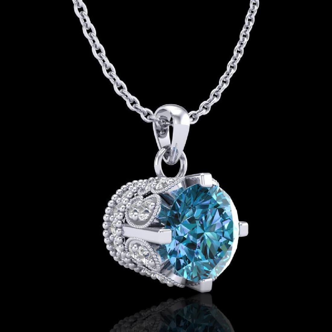 0.85 CTW Fancy Intense Blue Diamond Solitaire Art Deco - 3