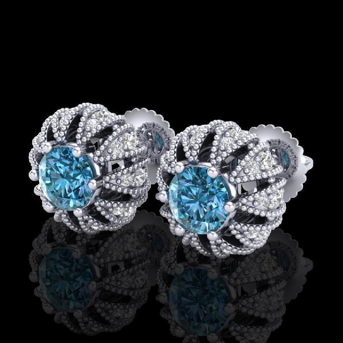 2.01 CTW Fancy Intense Blue Diamond Art Deco Stud