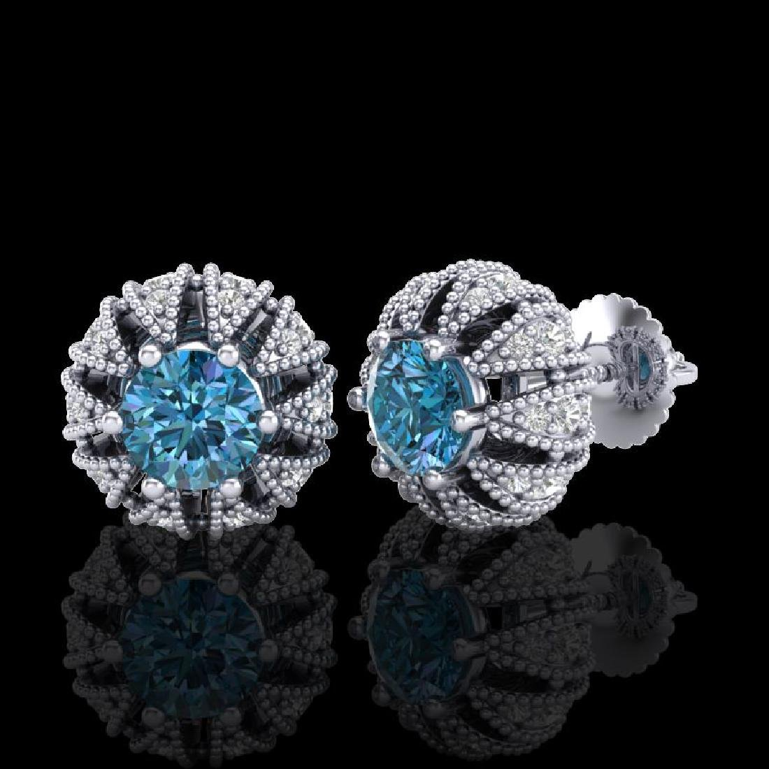 2.01 CTW Fancy Intense Blue Diamond Art Deco Stud - 2
